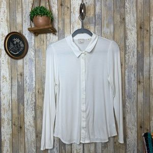 Anthro Postmark Ribbed Jersey Button Down Blouse